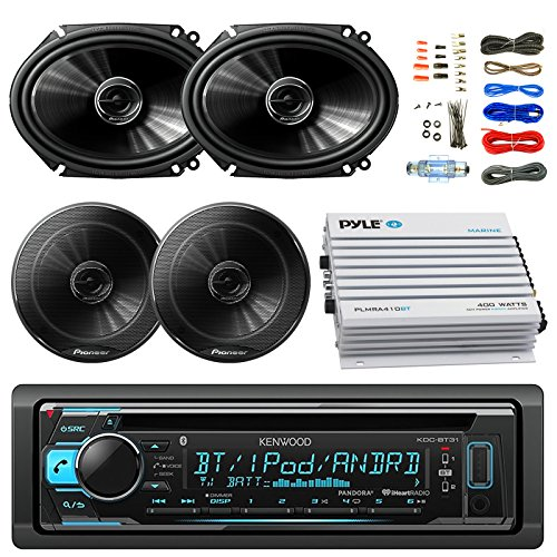 """Kenwood KDCBT31 Car Bluetooth Radio USB AUX CD Player Receiver - Bundle Combo With 2x 250W 6x8"""" inch 2-Way Coaxial Car Audio Speakers + 2x 6.5-Inch Speakers + 4-Channel Amplifier + Amp Kit"""