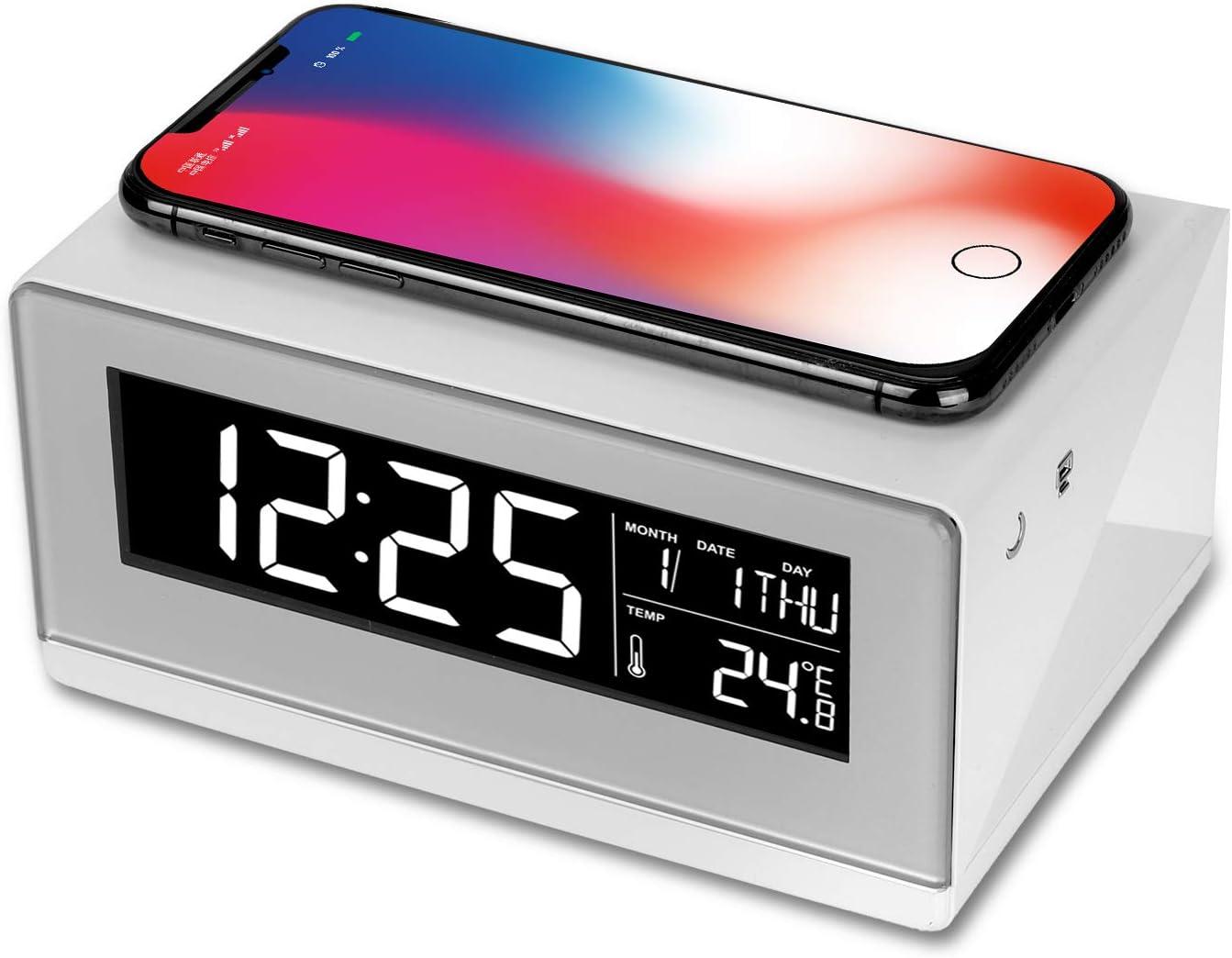 WILIT A12 Lámpara de Mesilla, Reloj Despertador, Cargador Inalámbrico, Lámpara Mesa con Pantalla Regulable, 3 Niveles de Brillo, Qi Carga Inducción para Samsung S10/S9/Note 10, iPhone 11/XS/8, Blanco