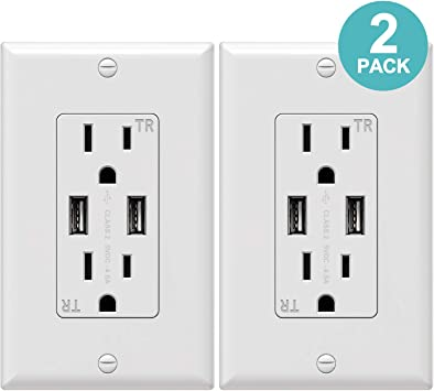 2 Pack WEBANG USB Wall Outlet with 5V//4.8A Dual High Speed USB Charger 20A Tamper-Resistant Receptacle Outlet White