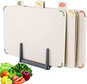 Cheng Cutting Board for Kitchen,Plastic Index Chopping Board Set of 3 with Food Icon,Non-slip,Juice Groove, Large Cutting Boards set With Draining Rack 13.8 x 9.8 inch (White)