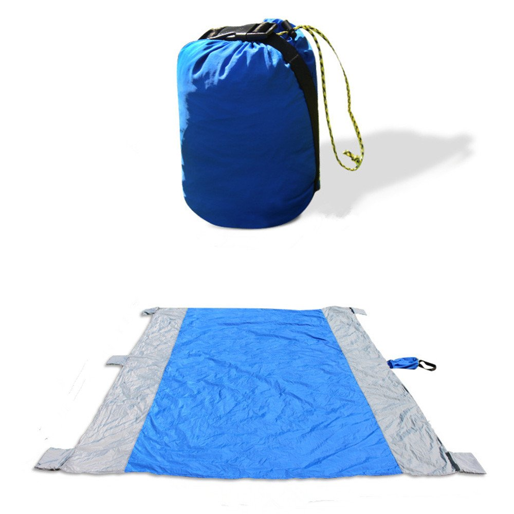 Sand Free Beach Blanket Picnic Blanket, 8.9 X 6.9Ft Waterproof And Sand Mat Combined,Quick Drying,Lightweight Durable,Parachute Nylon Sand Resistant Blanket for Outdoor Activities(Blue) by Jiistar