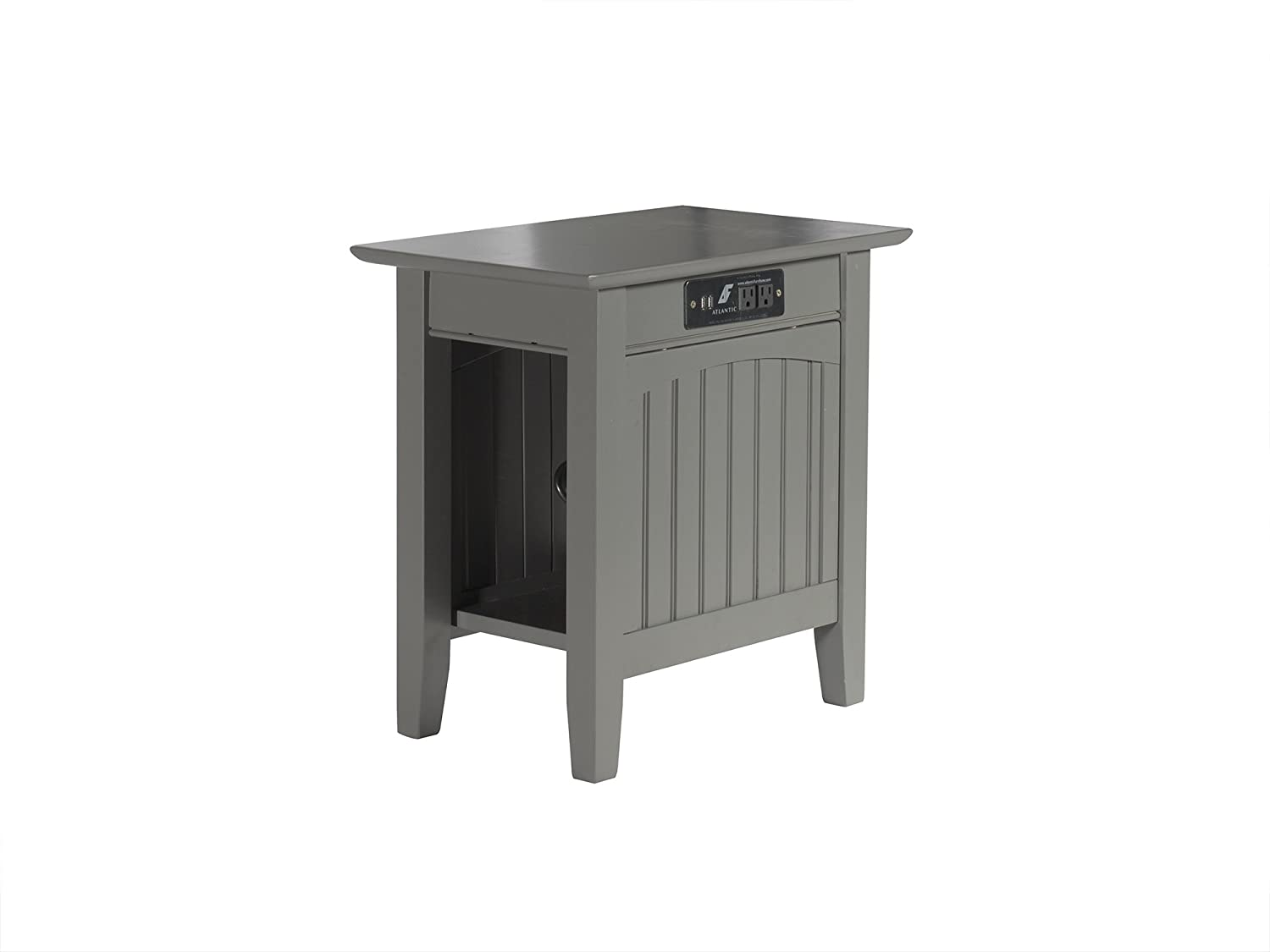 "Atlantic Furniture AH13319 Nantucket Side Table Wood Chair (22"" x 14""), Grey"