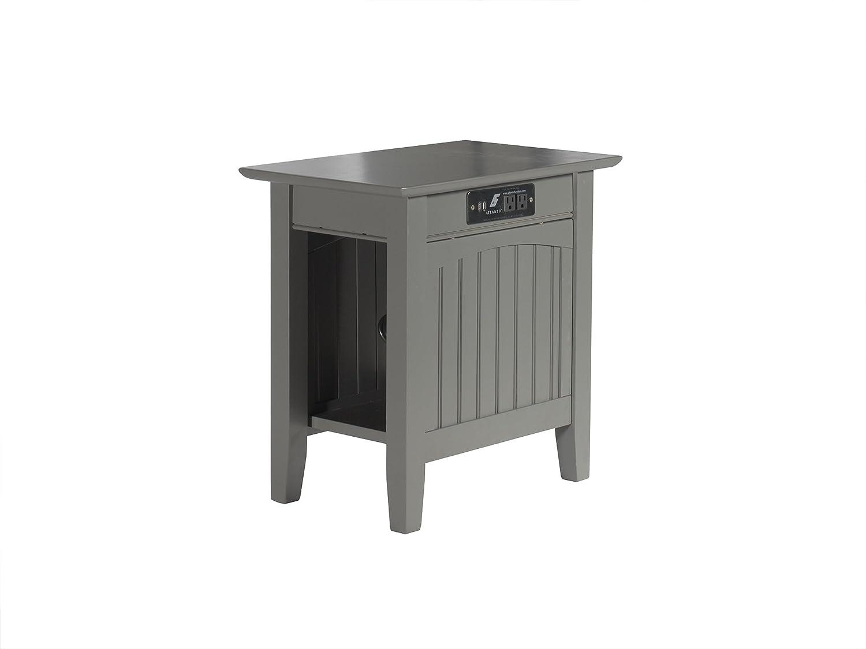 "Atlantic Furniture AH13319 Nantucket Side Table Wood Chair (22"" x 14""), Grey"