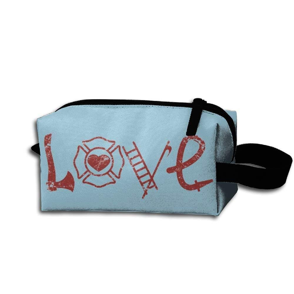 Portable Unisex Travel Makeup Bag Love Axe Firefighter Cosmetic Pouch Mini Bag