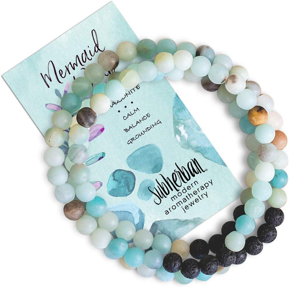 Subherban Essential Oil Bracelets - Aromatherapy Bracelet or Necklace - Lava Rock Anxiety Bracelet - Mermaid - Handmade Jewelry - Gifts for Women
