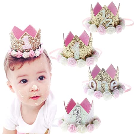 Princess Baby Girl 1st Birthday Flower Crown Party One/&Two Year Hairband TiaraFO