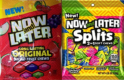 Now and Later Splits soft chews & Now & Later Long Lasting Chews 4.25 Oz Combo (Pack of 4) (Now And Later Soft Grape compare prices)