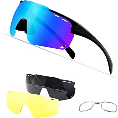 Polarized Cycling Sports Sunglasses,Cycling Glasses for Men Women with 4  Interchangeable Lenes for Running Baseball Golf Driving: Amazon.co.uk:  Clothing