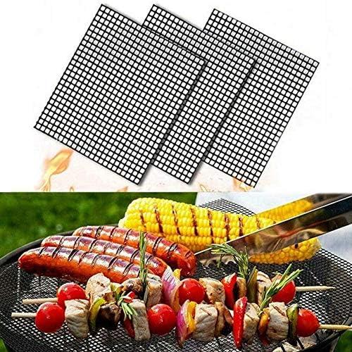 Aexit Tapis de Cuisson Barbecue Feuille Cuisson Barbecue Tapis Anti-adhérent et Réutilisable pour Barbecue Électrique Gaz et Charbon 3Pcs Rectangle