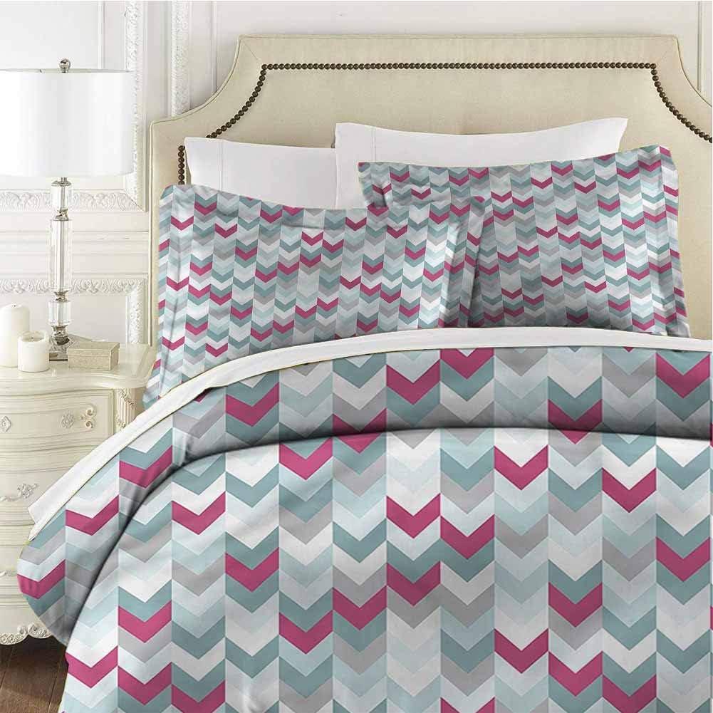 Chevron Queen Size Sheet Set-3 Piece Set,Bedding Set Bedding Set Symmetric Stripes Arrow Soft and Breathable Comforter Cover Soft Breathable
