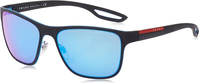 Prada Linea Rossa Lj Silver Gafas de sol, Azure/Black Rubber, 56 para Hombre