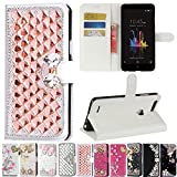ZTE Blade Z Max/Z982, ZTE ZMax Pro 2/ZTE Sequoia Case, Best Share Manual Bling Flip Stand PU Leather Wallet Full Cover Silicone Case Card Slot, White-Rose Gold Crystal
