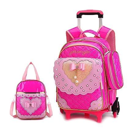 BAG Mochila con Ruedas para niñas 2pcs niños Trolley Mochilas Escolares con Arco portátil Bolsa de