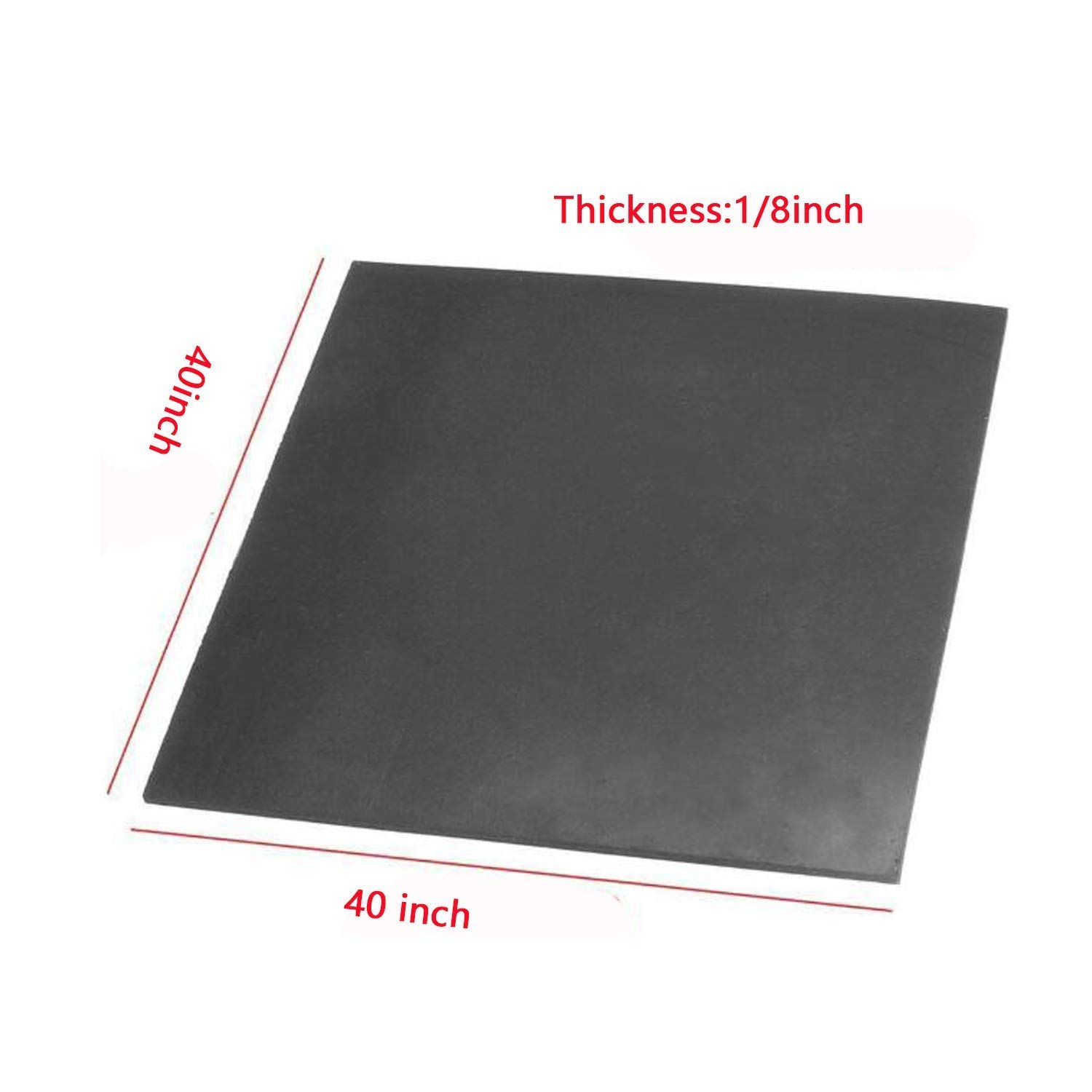 1//8 lehom Black Rubber Sheet Roll Warehouse .125 inch Thick x 40 in x 40 in Heavy Duty Heat Resistant Pad for Gaskets DIY Material Supports Leveling Sealing Bumpers Protection Abrasion Flooring