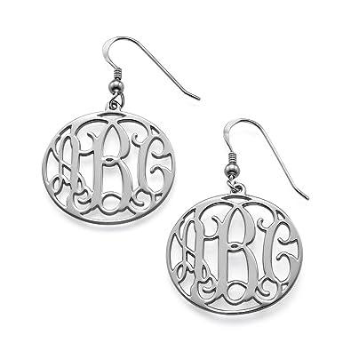 6c663fe1e Amazon.com: Sterling Silver Monogram Earrings-custom Made with Any Initial!:  Hoop Earrings: Jewelry