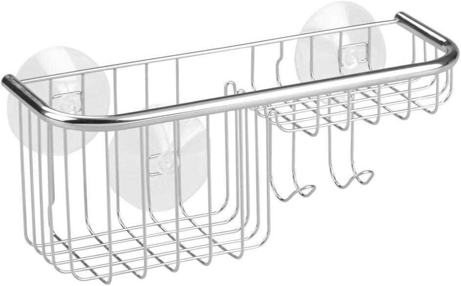 Plateado InterDesign Forma Ultra Repisa para Ducha Estante de ba/ño con jabonera de Acero Inoxidable y ventosas de pl/ástico