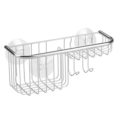 InterDesign Forma Ultra Repisa para Ducha, Estante de baño con jabonera de Acero Inoxidable y ventosas de plástico, Plateado