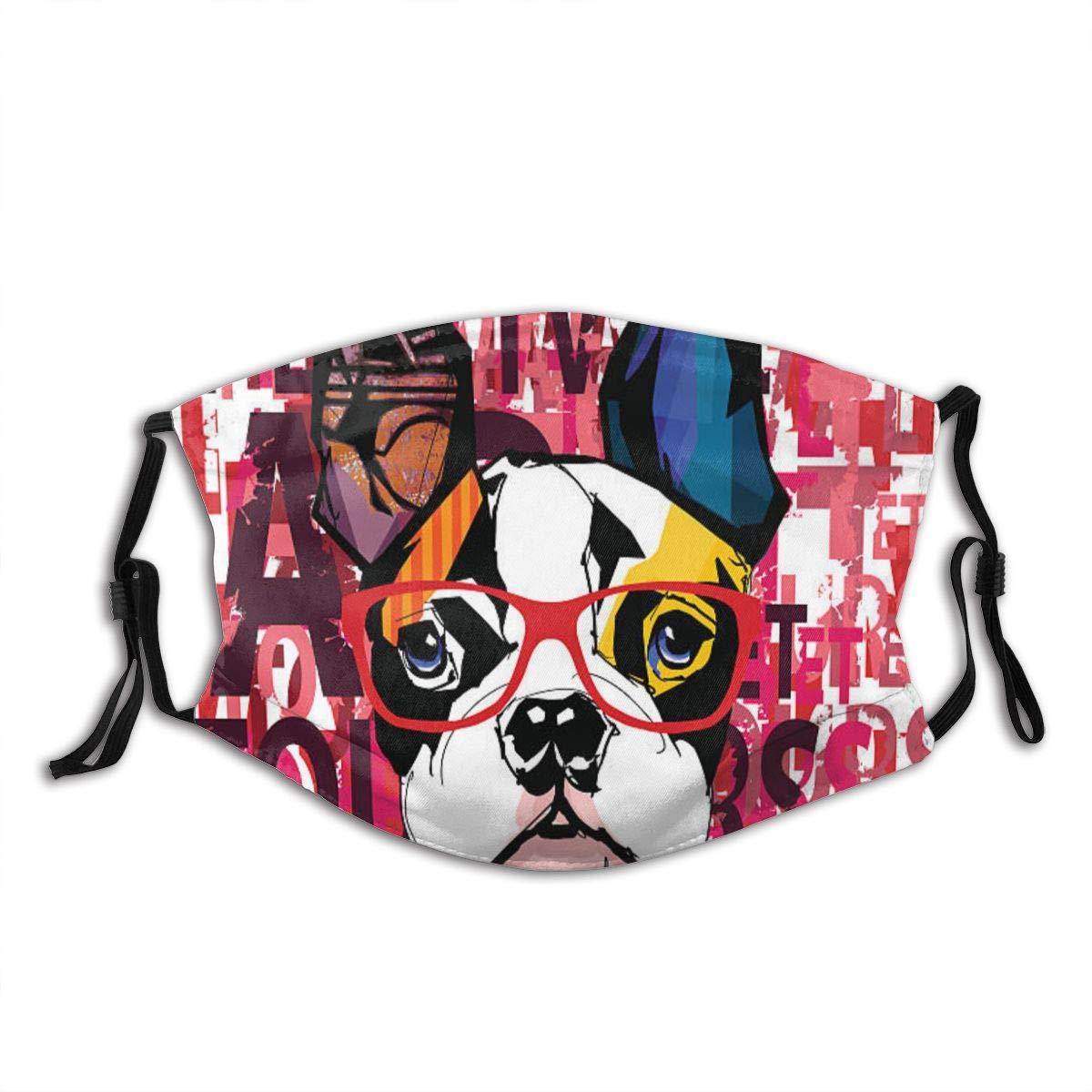 Ritratto di bulldog francese indossando occhiali da sole Passamontagna riutilizzabile antivento in cotone antipolvere per met/à viso per donna uomo
