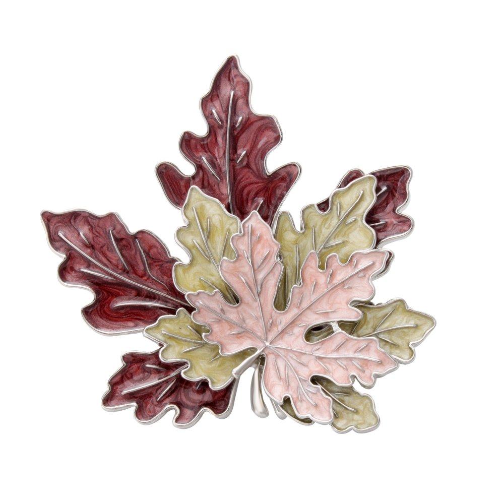 SENFAI Tri-Color Metal Maple Leaf Fashion Brooch Retro Oil Lapel Pins