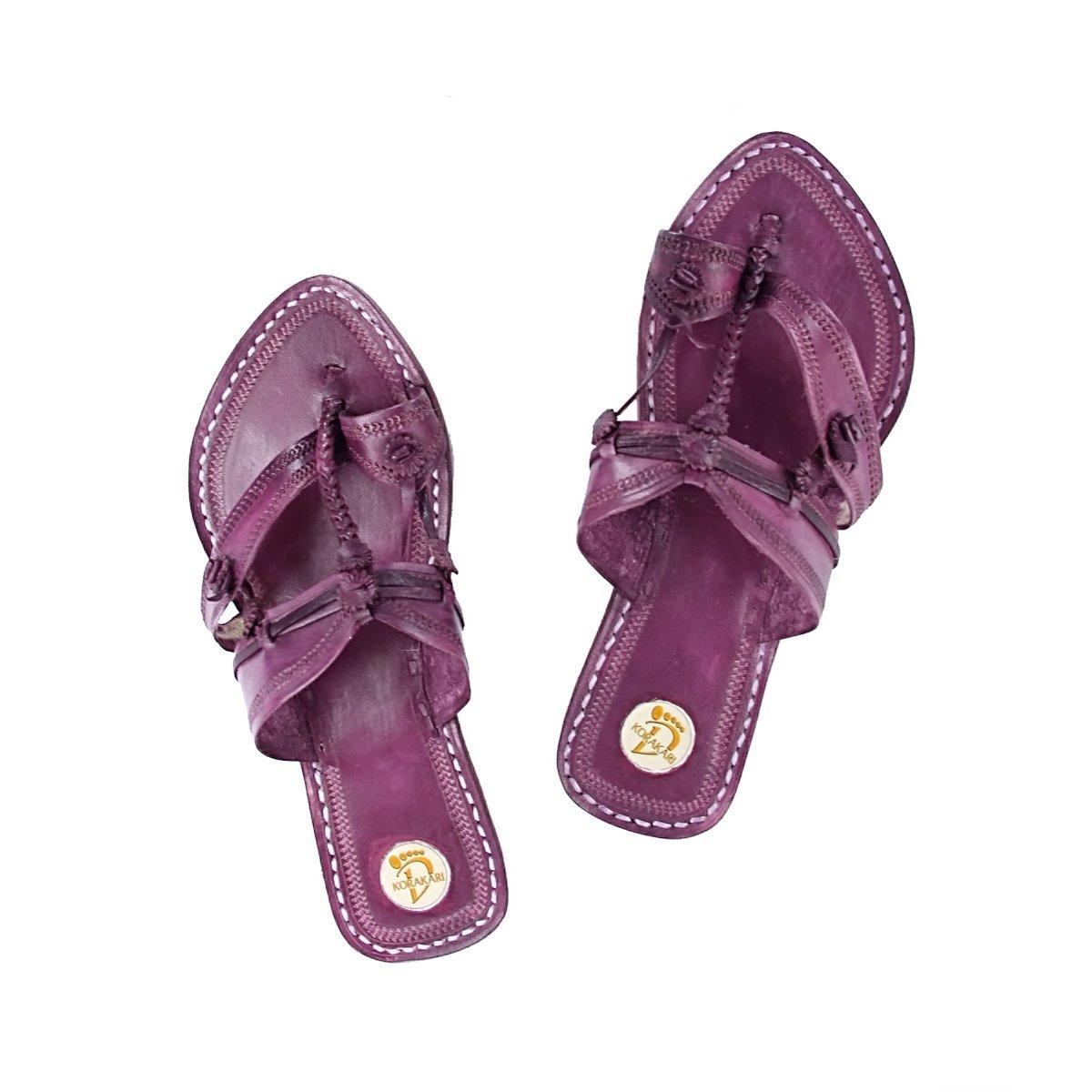 KOLHAPURI CHAPPAL Original Antiqua Design viola Pointed Kolhapuri Ladies Ladies Ladies Chappal Slipper Sandal 86b9e1