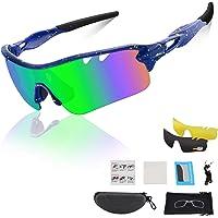 DUDUKING gepolariseerde sportbril UV400-bescherming voor heren en dames Fietsbril TR90-montuur met 5 wisselglazen voor…