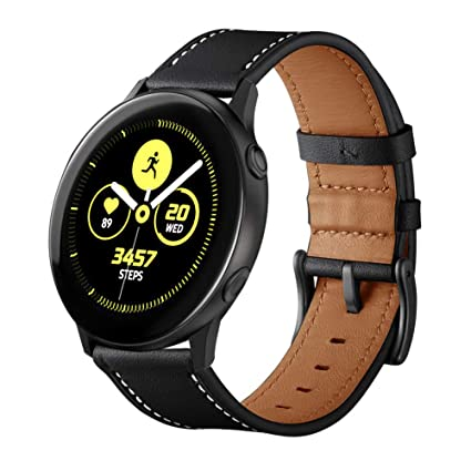 Aresh Compatible with Samsung Galaxy Watch Active2 40mm&Active2 44mm Bands, 20mm Soft Leather Strap for Samsung Galaxy Active 2 Smartwatch (Black)