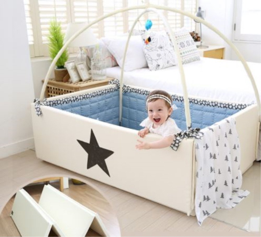 Dreamb Transforming Baby Bumper Bed Play Mat Lucky star (mat(ivory)+mobile+Fabric guard(beige)) by Dreamb