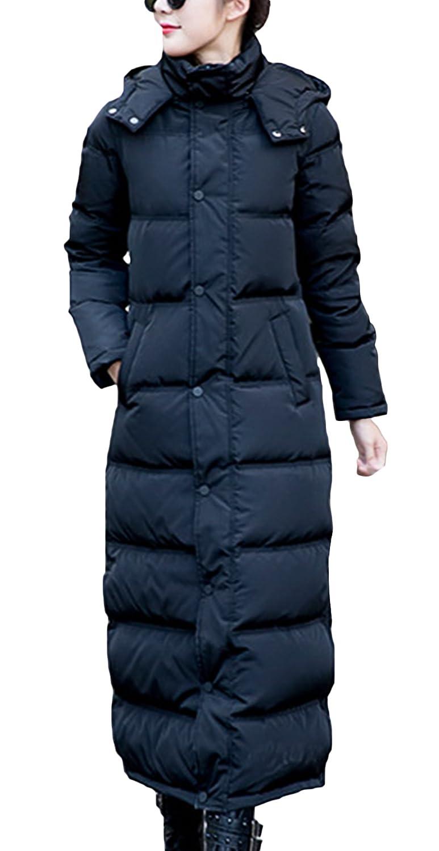(ラボーグ)La Vogue レディース コート ダウン ジャケット 中綿 アウター ロング丈 フード付き 軽量 修身 防寒 ブルゾン 秋冬 棉服 カジュアル 黒色 XXL B0767DZRLQ