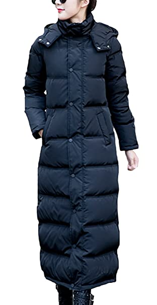 EOZY Mujer Abrigo Chaqueta Larga De Plumón con Capucha Invierno Negro
