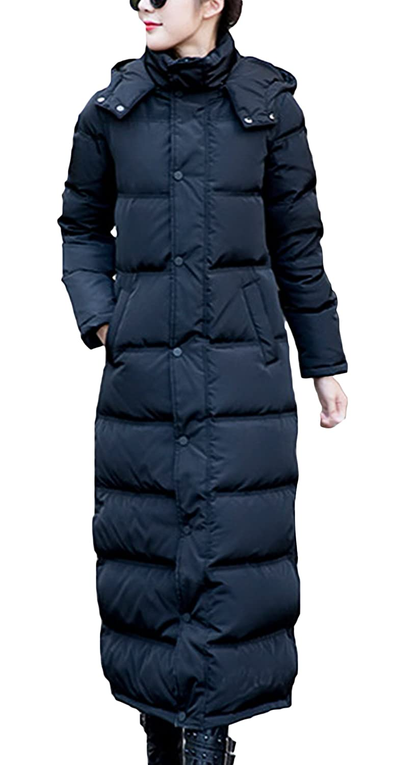 Lukis Damen Lange Daunenjacke Daunen Mantel mit Kapuze Winter Schwarz