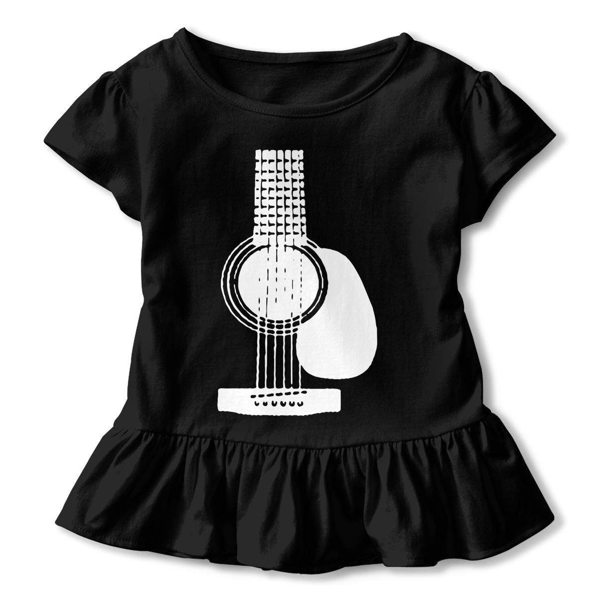 Acoustic Guitars Kids Girls Short Sleeve T-Shirts Ruffles Shirt Tee for 2-6T