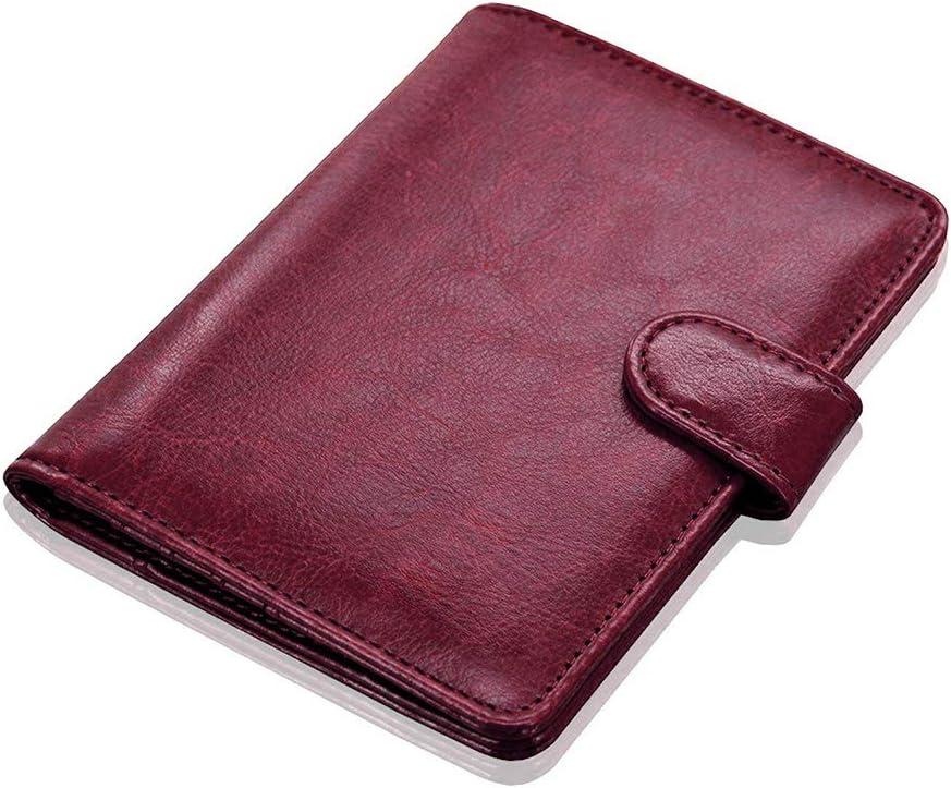Brun Fonc/é Young /& Ming Porte Passeport de RFID Blocage Portefeuille Passeport en Cuir PU Pochette Organisateur de Voyage avec Boucle Magn/étique pour Homme//Femme