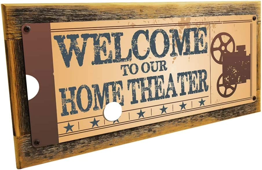 OMSC Framed Welcome to Our Home Theater Metal Sign, Retro Ticket to The Movie, Media Room, Family Room, Bar, Den Decor