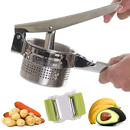 NaiCasy Prensa Patatas, Acero Inoxidable machacador de Patatas, Acero Inoxidable Prensa Patatas Ricer –