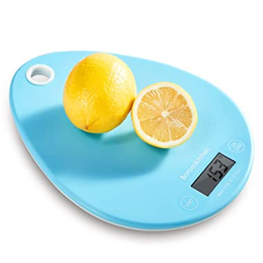 Kitchen Digital Food Scales, Bonsenkitchen Multifunction Grams and Ounces Weight Scale with Wall Hanging Hole, 11lb/5kg Daily Meal Prep Scale Batteries Included