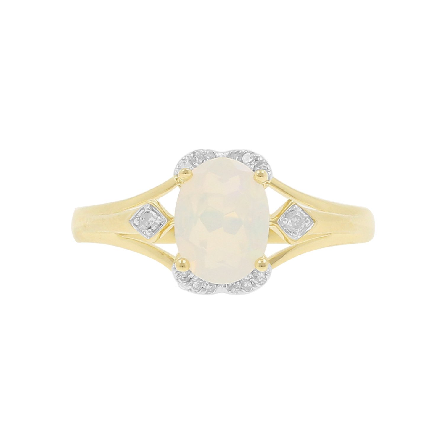 10kt Yellow Gold Ethiopian Opal and Diamond Accent Fashion Ring, Size-7