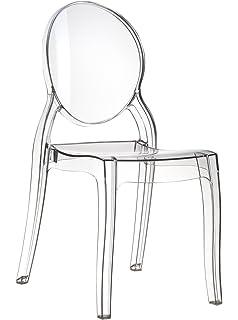 EGLEMTEK Set di 4 Sedie Design in Policarbonato Trasparente Cristal ...