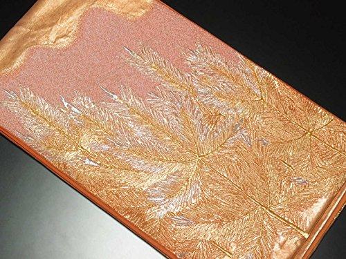 宣言支出囲いリサイクル袋帯/正絹赤茶地松柄袋帯(ふくろおび 丸帯リサイクル着物)【ランクB】