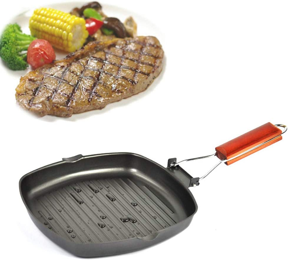 20x20cm SLHP Griddle Pan Stainless Steel Grill Flat Bottom Nonstick Steak Pan with Folding Handle Flapper Induction Cooker Universal