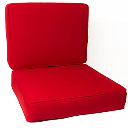 Ultimatepatio.com Large Replacement Outdoor Club Chair Cushion Set With  Piping   Canvas Jockey Red
