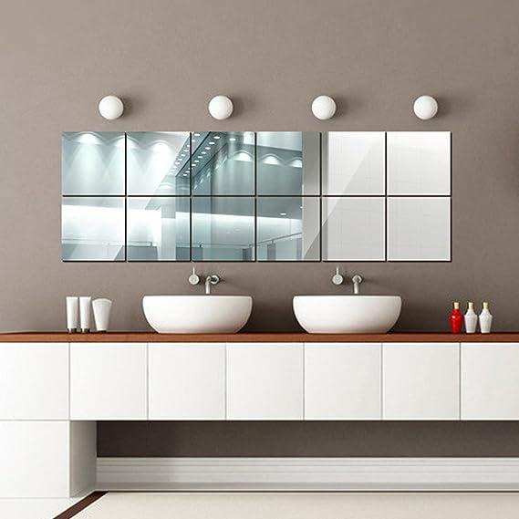Qikoup Wandspiegel Spiegelfliesen Selbstklebend Spiegelbl/ätter Wandaufkleber Spiegel Acrylspiegel Liebe Vogel DIY Wall Decor f/ür Badezimmer Umkleidekabine Wohnzimmer K/üche Schlafzimmer