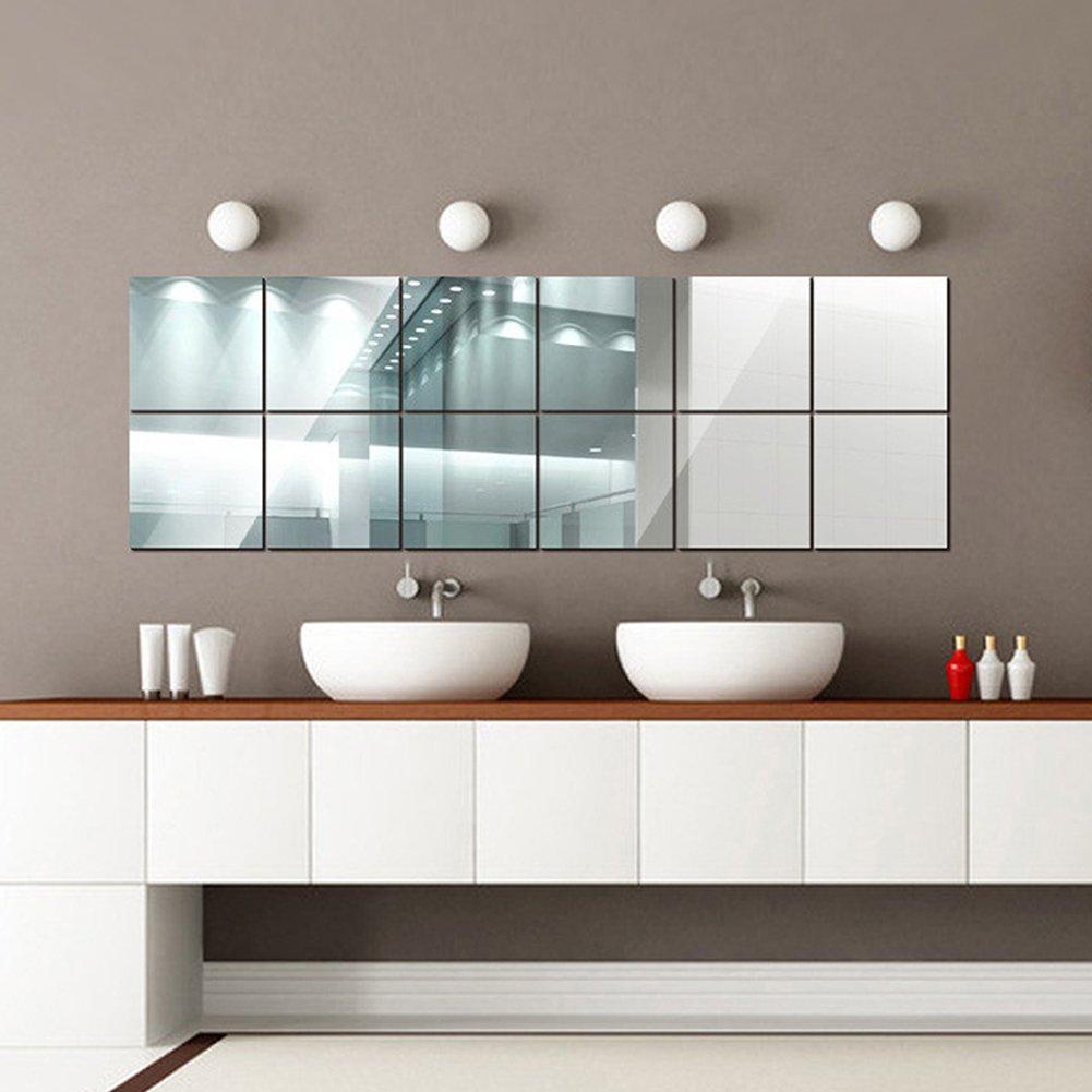 16pcs Carrés Miroir Sticker Muraux ,Art Design Amovible Reutilisable pour DIY Autocollant,Décoré Salon Chambre Salle de Bains