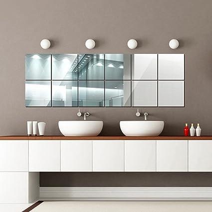 16 Pezzi Adesivi Specchio,15cmX15cm Removibile DIY Sticker da Parete ...