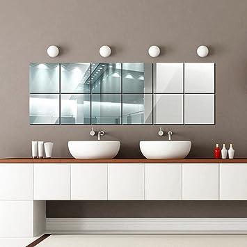 16 Pezzi Adesivi Specchio,15cmX15cm Removibile DIY Sticker da Parete  Decorazione per Bagno Camera da Letto