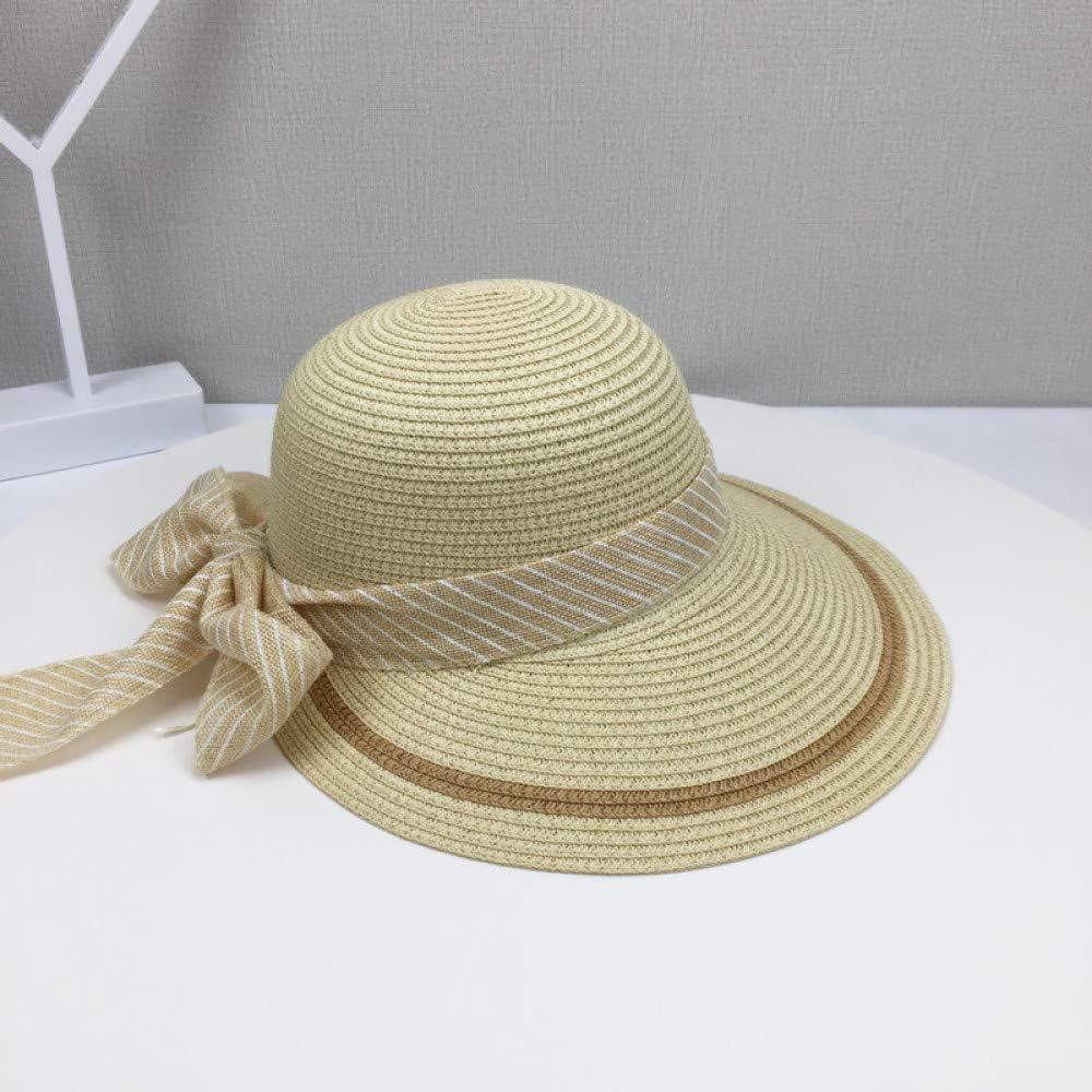 Sombrero de Paja, Sombrero para el Sol, Protector Solar para Mujer, Cara Salvaje, Bicicleta al Aire Libre, sombrilla, Sombrero de Playa UV, Beige, Ajustable