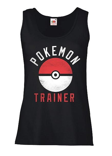 LaMAGLIERIA Camiseta de Tirantes Mujer Pokemon Trainer - 100% algodòn, S, Negro