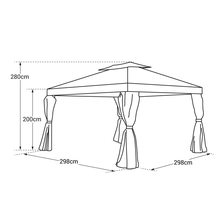 Happy Garden Tonnelle autoportante 3x3m Antibes Beige Structure Aluminium