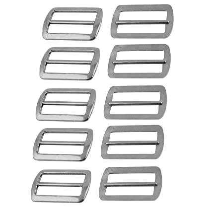 uxcell Metal Rectangular Luggage Bag Strap Band Replacement Fixed Bar Buckle 10pcs
