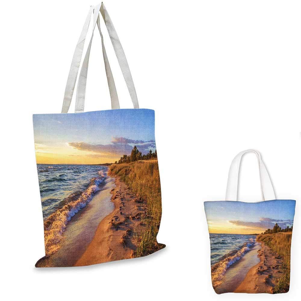Coastal canvas messenger bag Sketchy Fishing Village Malay in Singapore with Houses Canoe Palms Sun Print fruit shopping bag Black Grey Orange 14x16-11