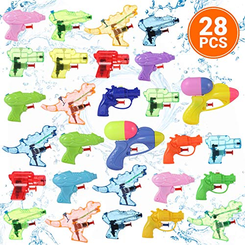 Small Water Gun Toys 28 Pcs Pack for Kids, Set of Assorted Mini Blasters, Pistols, and Squirt Guns Best for Swimming Pool, Summer, and Outdoor Games, Ideal Birthday Party Favors and Water Fight Toy